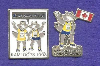 2 Cute Boy & Girl Coyote Attitude Canada Games Mascots Sporting Event Pins z3