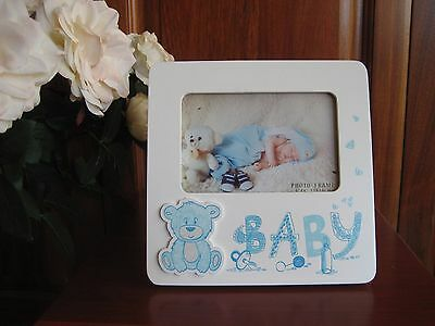 Baby Blue/White Wooden Photo Frame Cute Gift Boy Teddy