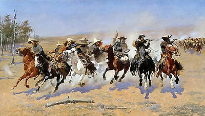A Dash for the Timber Painting by Frederic Remington Art Reproduction