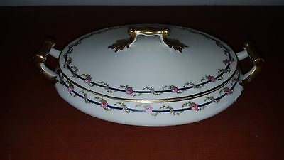 M. Redon Limoges France P L Oval Covered Serving Dish Pink Roses Gold Handles