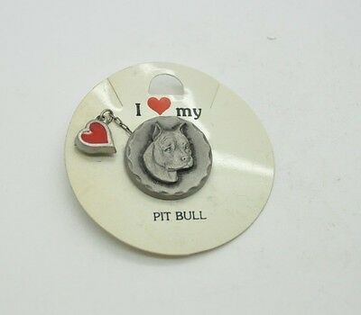 RAWCLIFFE Fine Pewter 1984 Dog I LOVE MY PIT BULL TERRIER Pin Heart