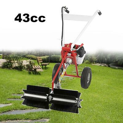 52cc Gas Power Sweeper Hand Held Broom Driveway Turf Lawns Cleaning Walk Behind