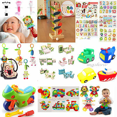 Baby Rattle Stroller Hanging Bell Kid Soft Animal Toy Letters Puzzle Alphabet