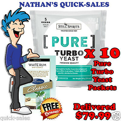 PURE - Triple Distilled Turbo Yeast x 10 Pack Promo @ $79.99 - WHITE RUM