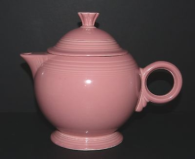 Art Deco FIESTA WARE Pottery PINK 1 Litre TEAPOT Large RING Handle USA Laughlin