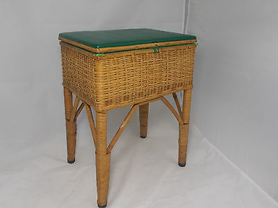 Vintage Retro Green Bamboo and Wicker Sewing Craft Box Basket