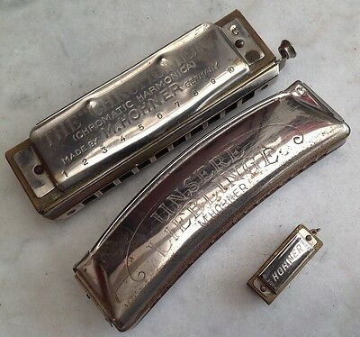 "3 VINTAGE M Hohner Harmonica Made Germany Unsere Lieblinge ""C"" / THE CHROMONICA"