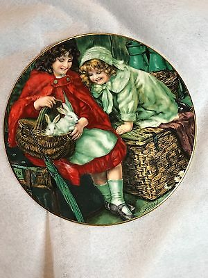 Pears Soap Plate by Sheridan Knowles 2 girls Red White Coats Rabbits Basket