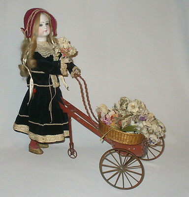 Antique french automaton Head bisque doll Barrois 1800's mechanical toy