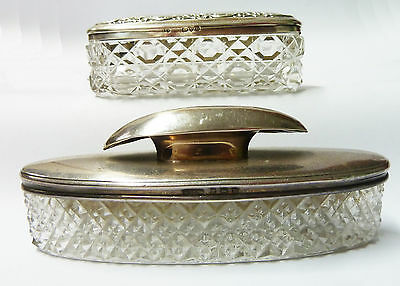 Antique Crystal Glass Silver topped Vanity Jars - 1911
