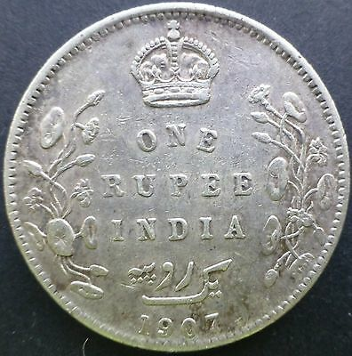 British India 1907 One Rupee Silver Coin