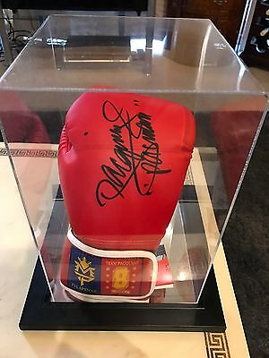 Manny Pacquiao Boxing Glove Signed Red Autographed Display Case Memorabilia