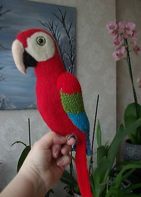 Knitted Budgie by Carol Harrison  Green Wing MaCaw  needle felted