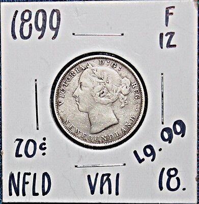 1899  VRI Newfoundland Silver 20 Cent Coin  FREE UNINSURED SHIPPING