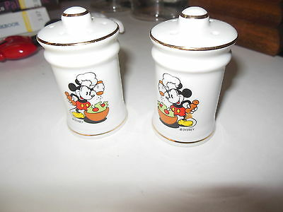 Vintage Disney Mickey Mouse Salt and Pepper Shakers Japan VG Condition Gold Acc.