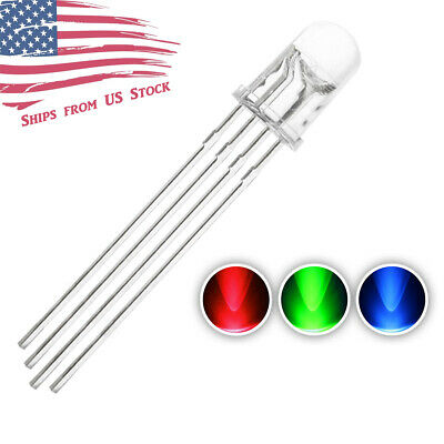 10pcs 5MM 4pin Common Anode Clear RGB Tri-Color Red Green Blue LED Diodes US