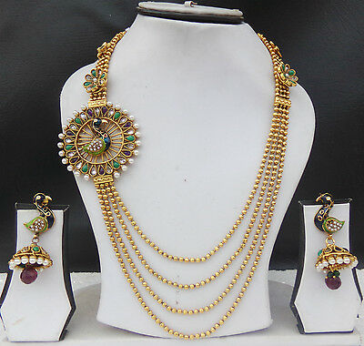 Long Necklace Indian Peacock Jewelry Gold Plated Pearl Ethnic Earring Chain Set