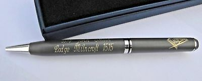 Quality Masonic Personalised Pen With  Your Own Name And Lodge Name An Number *