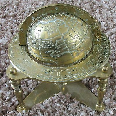 Vintage Solid Brass Globe on Stand