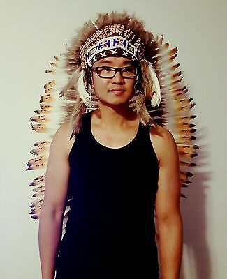 American Indian Chief Head Dress Costume Feathers