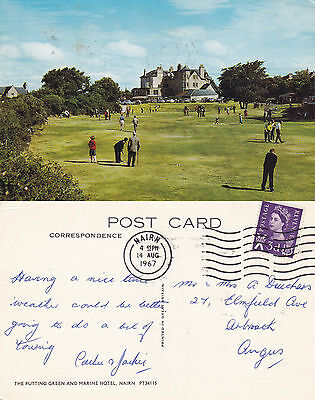 1967 Putting Green & Marine Hotel Nairn Nairnshire Scotland Colour Postcard