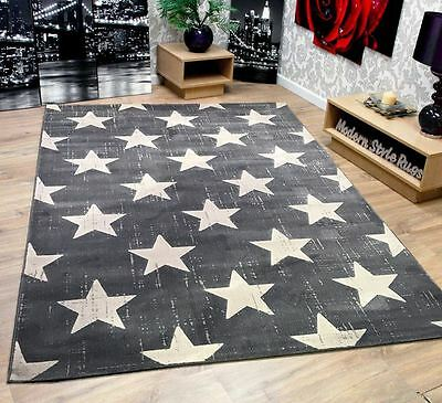 Now Stars Grey & Cream Quality Soft Touch Extra Large Home Floor Rug 160x230cm