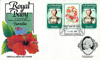 TUVALU FUNAFUTI 1982 BIRTH OF PRINCE WILLIAM 10c GUTTER PAIR FIRST DAY COVER (d)