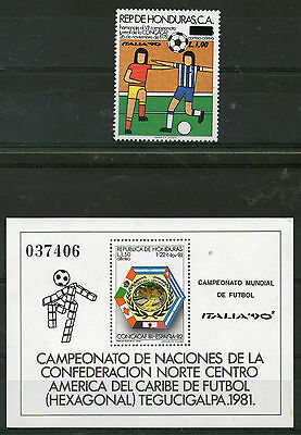 Honduras Football World Cup Italy 1990 Set Of Both Commemorative Stamps Mnh