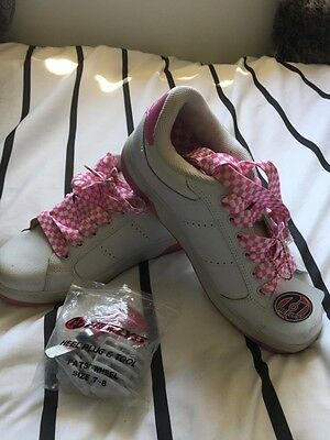 heelys Girls Pink And White Skate Shoe With Tools- Size 7-8. Fits Ladies 9under