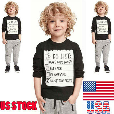 2PCS Kids Toddler Baby Boys Handsome Outfit Tops Shirt Tee Pants Clothes Set US