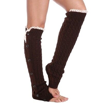 Brown Cable Knit Button Lace Boot Cuff Socks Leg Warmers Knee High