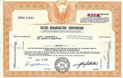 Reeves Broadcasting Corporation....1969 Stock Certificate