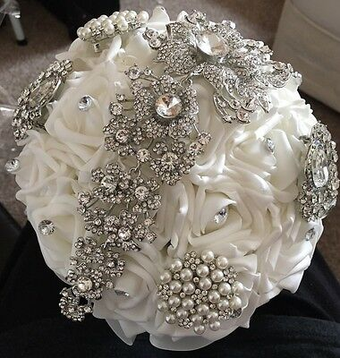 Wedding Bridal Bridesmaid Bouquet Ivory Flower Rose Crystal Jewels White Ribbon