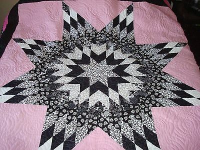 BLACK & WHITE ON PINK  QUILT TOP - Not Quilted, Machine Pieced