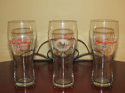 NFL Budweiser Chicago Bears beer glass LOT of 3