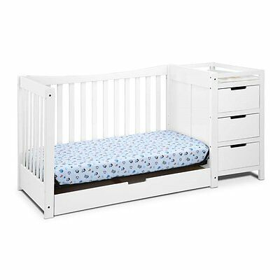 Graco Remi 4-in-1 Convertible Crib and Changer in White