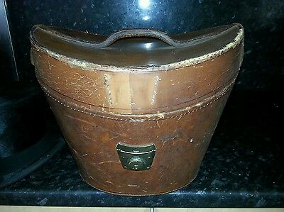 Antique Leather Top Hat Box And Beautiful Silk Top Hat By Dunn & Co London.