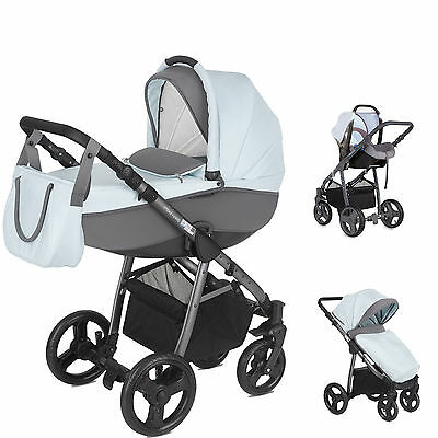 New Mini Uno Sky Stride Travel System Pushchair 0+Car Seat Carrycot From Birth