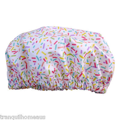 Kids/ Girls shower cap waterproof laminated cotton candy sprinkles