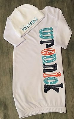 Personalized Newborn Baby Layette Gown Set Coming Home Outfit Shower Gift