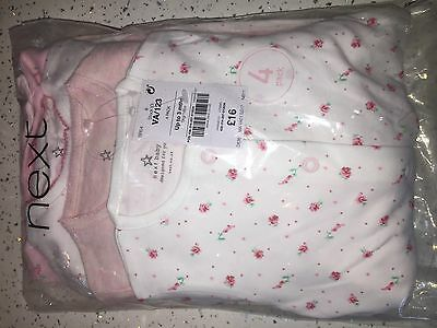 NEXT Baby Girls Soft Cotton Sleepsuits X4 BNWT New Gift RRP £16 Up To 3 Months