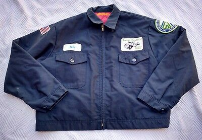 Vintage Union Made In Usa Service Gas Station Attendant Jacket Coat Trucker Xl