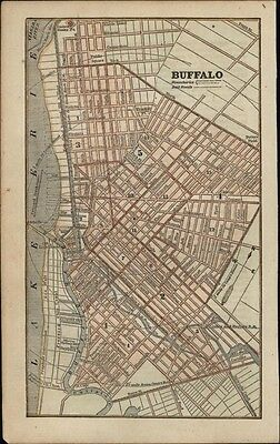 Buffalo New York Lake Erie streets city plan c.1855 antique map hand color