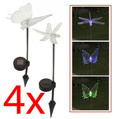 4 X Solar Powered Fluttering Butterfly Ornament Colourful Garden Decoration New