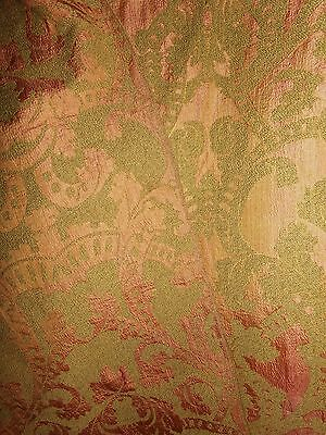 Antique Silk Chenille Damask Tapestry Upholstery Fabric Green / Coral 5+ YARDS
