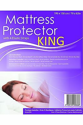 Premium Fitted Sheet KING Bed Sized Mattress Protector Elastic Strap