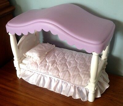 Little Tikes Barbie MY SIZE DOLLHOUSE Canopy Bed Furniture Bedding Blanket