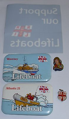 5 RNLI Royal National Lifeboat Institution ITEMS  Badges, Unused Sticker + Charm