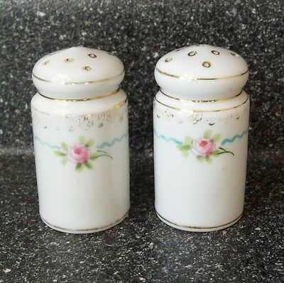 Antique NIPPON White Porcelain SALT & PEPPER SHAKERS Pink Roses, Blue, Gold Trim