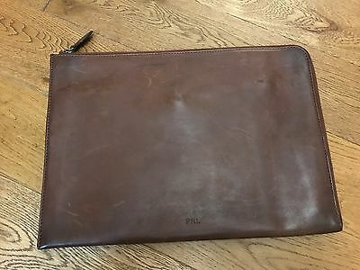 Ralph Lauren Distressed Portfolio Document Holder Brown Leather Made In Italy